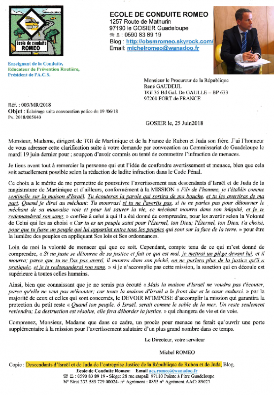 MICHEL ROMEO EST CONVOQUÉ PAR LA POLICE DE POINTE A PITRE POUR MENACE !!!