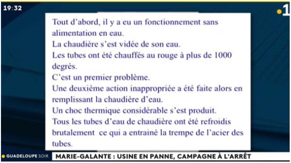 LUMIÈRE SUR LES CAUSES CACHÉES DU DIT ACCIDENT DE LA CHAUDIÈRE DE L'USINE DE MARIE GALANTE !!!