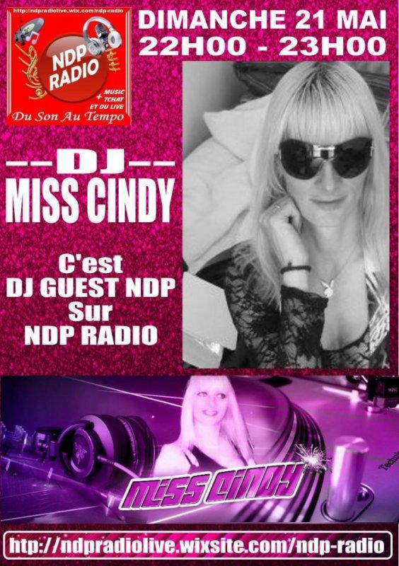 ATTENTION, Dimanche prochain dans DJ GUEST NDP, nous accueillerons DJ MISS CINDY sur NDP RADIO entre 22h00 et 23h00 Tenez vous prêt !!! http://ndpradiolive.wixsite.com/ndp-radio