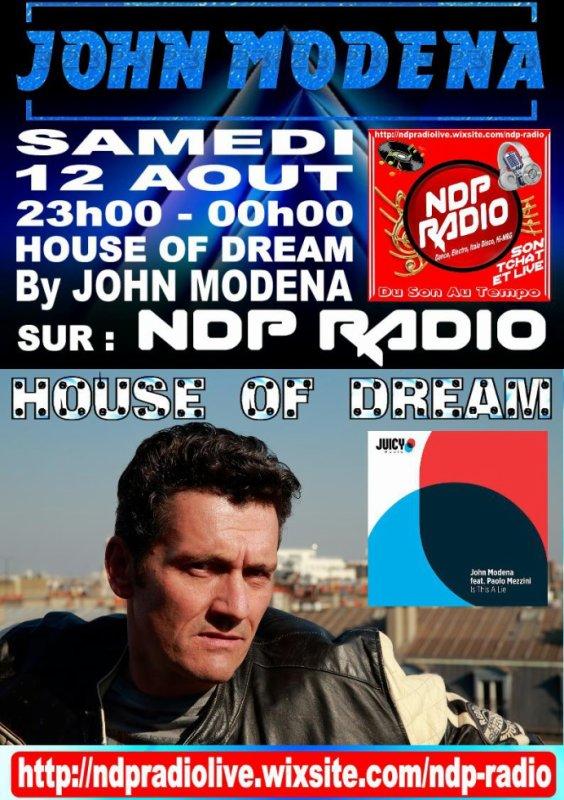 Plus que quelques jours pour venir découvrir le 1er set du DJ Producteur, JOHN MODENA le Samedi 18 Août à partir de 23h00 et c'est sur NDP RADIO, encore un gros week end qui s'annonce bien !!! https://ndpradiolive.wixsite.com/ndp-radio