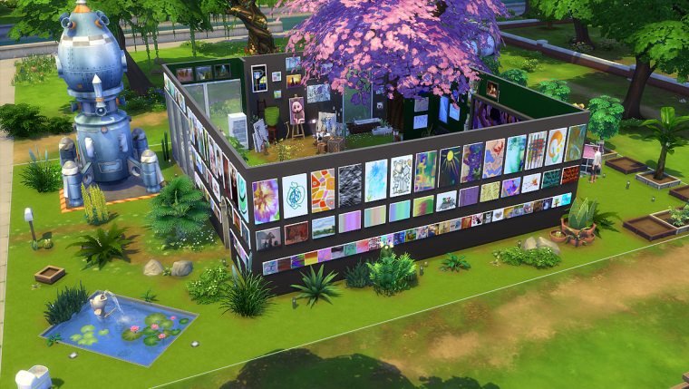 jeux pc sims 4 outside house paintings maison. Black Bedroom Furniture Sets. Home Design Ideas
