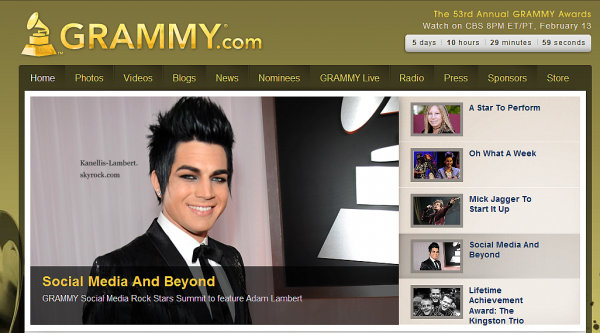 Adam Lambert en vedette sur la page d'accueil Grammy.com!