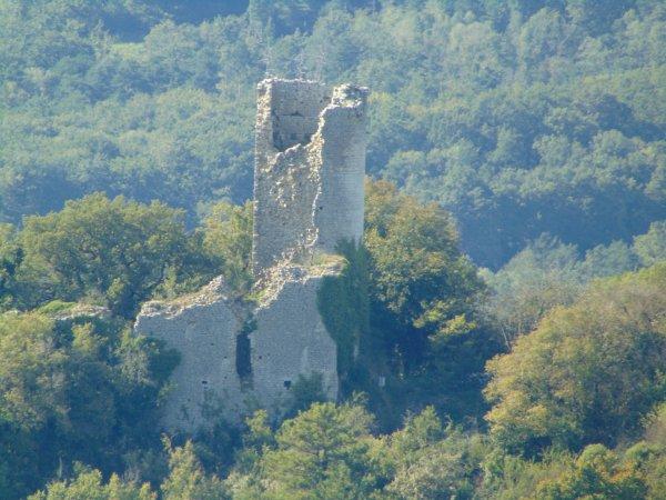 les ruines du  château de Jasseron datant de 1230 (aujourd'hui propriété privée).