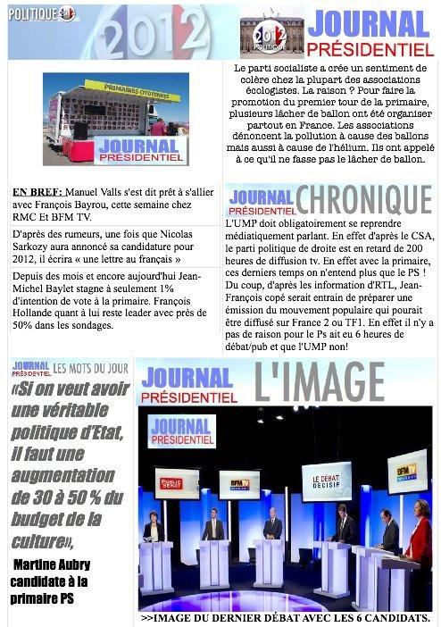 JOURNAL PRÉSIDENTIEL N°1