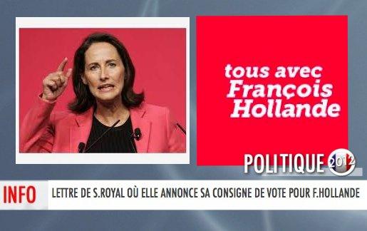 LETTRE DE S.ROYAL OÙ ELLE ANNONCE SA CONSIGNE DE VOTE POUR F.HOLLANDE