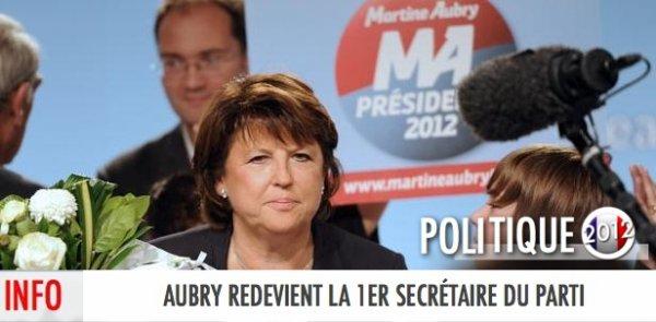 MARTINE AUBRY, SALUE LA VICTOIRE DE SON CONCURRENT ET ANNONCE QU'ELLE REDEVIENT 1ER SECRÉTAIRE DU PS