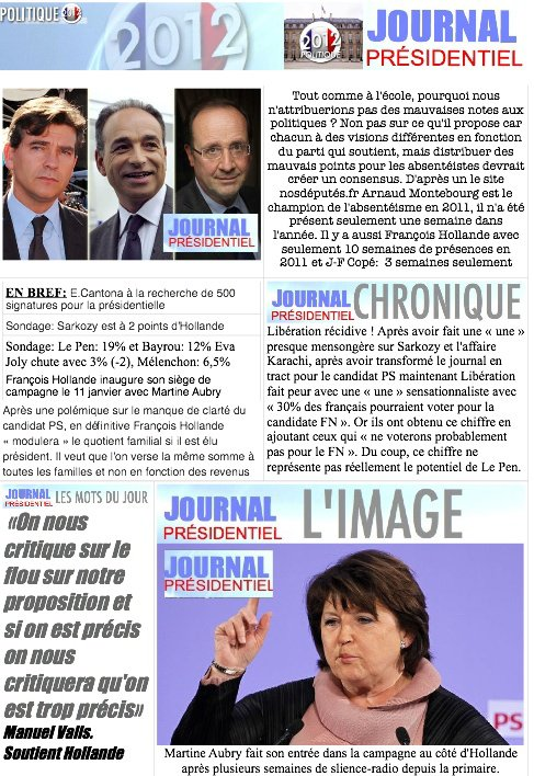 JOURNAL PRESIDENTIEL: 10 janvier 2012
