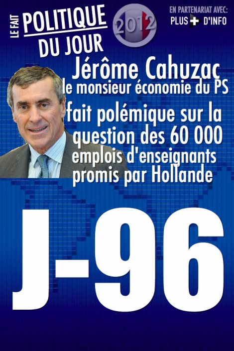 """LE FAIT POLITIQUE DU JOUR: Jérôme Cahuzac créer la polémique au sein du PS sur """"les 60 000 emplois d'enseignants"""" promis par Hollande"""