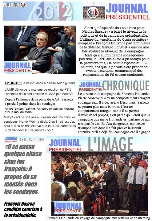 JOURNAL PRESIDENTIEL: 17 janvier 2012