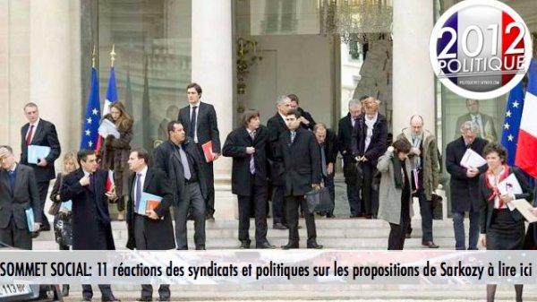 SOMMET SOCIAL: 11 réactions des syndicats et politiques sur les propositions de Sarkozy à lire ici