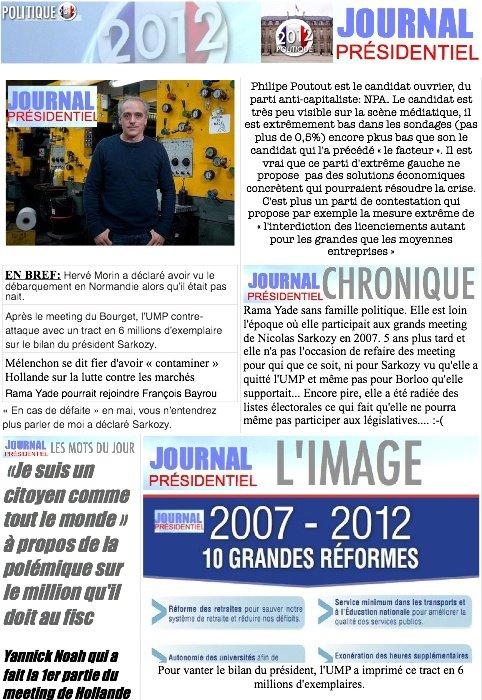 JOURNAL PRESIDENTIEL: 24janvier 2012