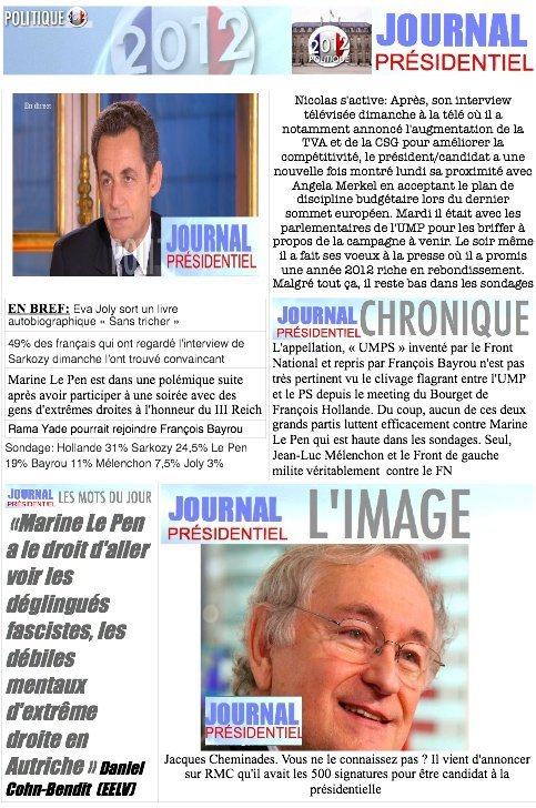 JOURNAL PRESIDENTIEL: 31 janvier 2012