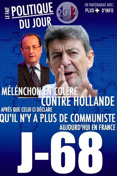 LE FAIT POLITIQUE DU JOUR: Mélenchon outré par les propos de Hollande sur les communistes