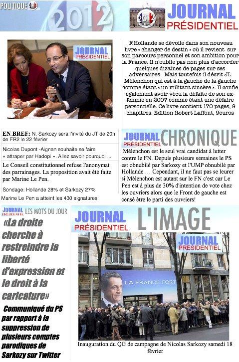 JOURNAL PRESIDENTIEL: 22 Février 2012
