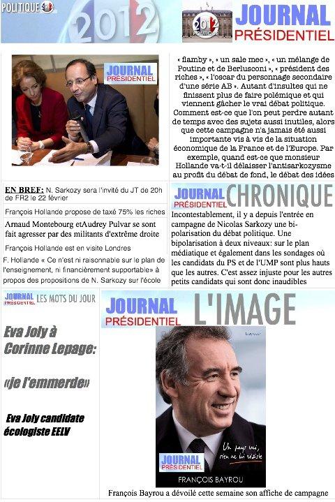 JOURNAL PRESIDENTIEL: 29 Février 2012