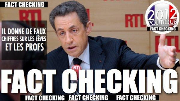 FACT CHECKING: QUAND N. SARKOZY DONNE DE FAUX CHIFFRE SUR LES ÉLÈVES ET LES PROFS EN DIRECT SUR RTL