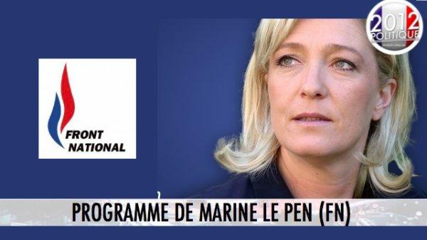 Programme de Marine Le Pen candidate FN (1/2)
