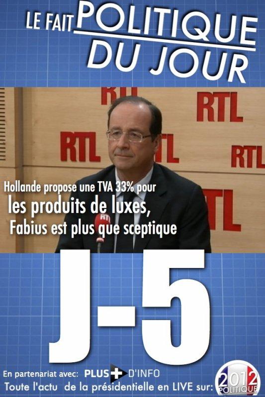 LE FAIT POLITIQUE DU JOUR: Hollande propose une TVA à 33% pour les produits de luxes, Fabius est plus que sceptique