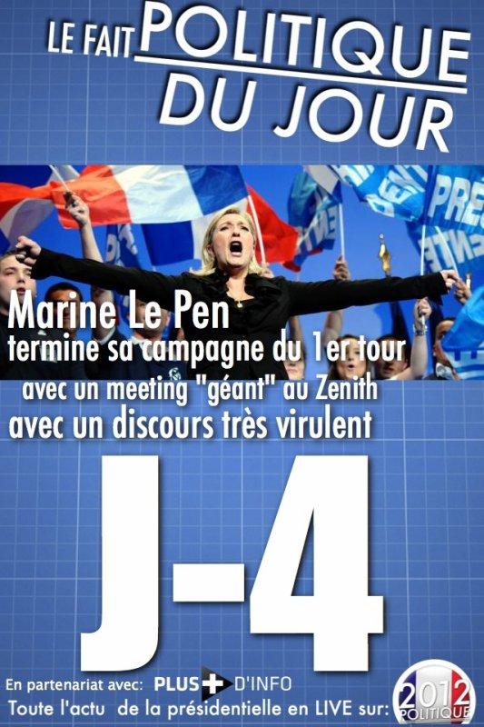 """LE FAIT POLITIQUE DU JOUR: Marine Le Pen termine sa campagne avec un meeting géant à Paris où les militants crient """"On est chez nous"""""""