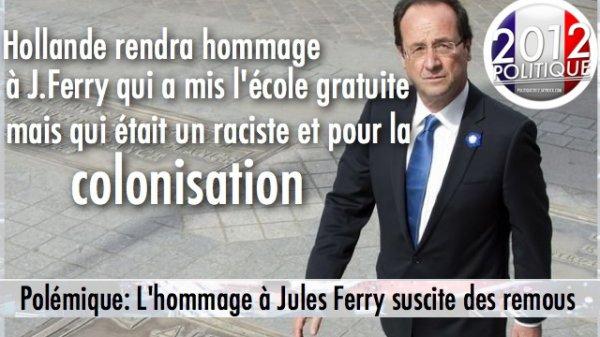 Polémique: Hollande rendra hommage à J. Ferry qui a mis l'école gratuite mais qui était raciste et partisan de la colonisation