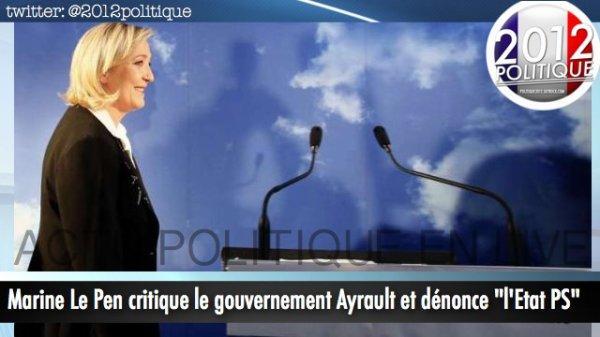 """Marine Le Pen critique le gouvernement Ayrault et dénonce """"l'Etat PS"""""""