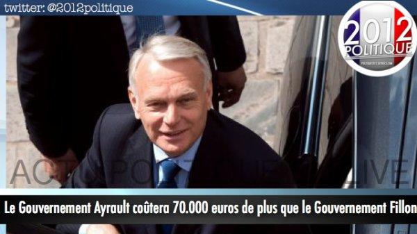 Le Gouvernement Ayrault coûtera 70 000euros de plus que le gouvernement Fillon