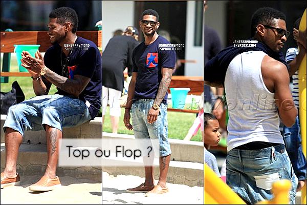. 05.07.12 : Usher R. a été vu avec en compagnie de son fils Usher V. dans un parc à Malibu. Niveau look, cette fois Usher opte pour un look plus décontracté. Je n'aime pas trop ses chaussures mais le reste passe bien. TOP!.