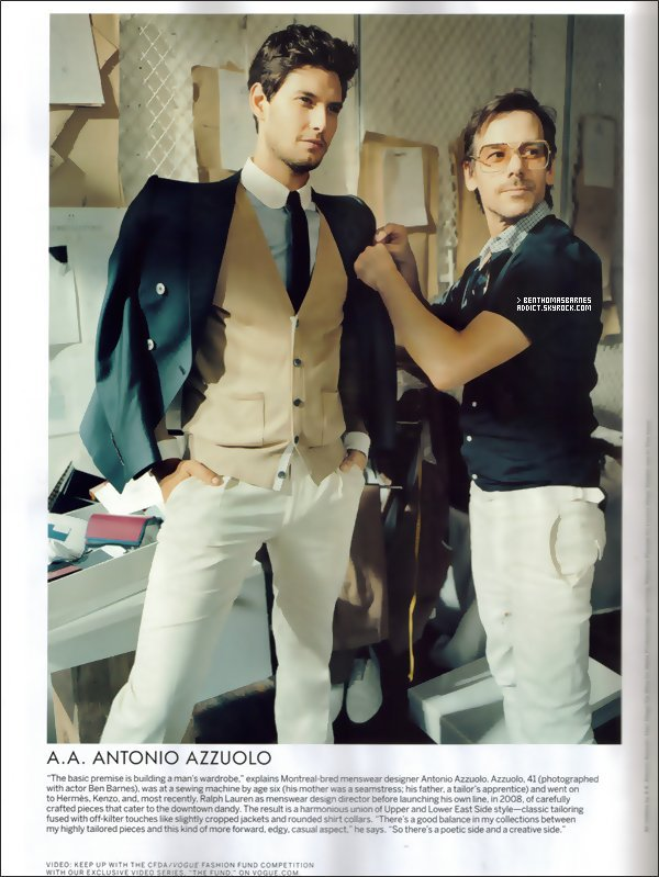 2o Octobre 2o11 : Voici une photo de Ben avec A. Azzuolo dans le numéro de Novembre du magazine Vogue.