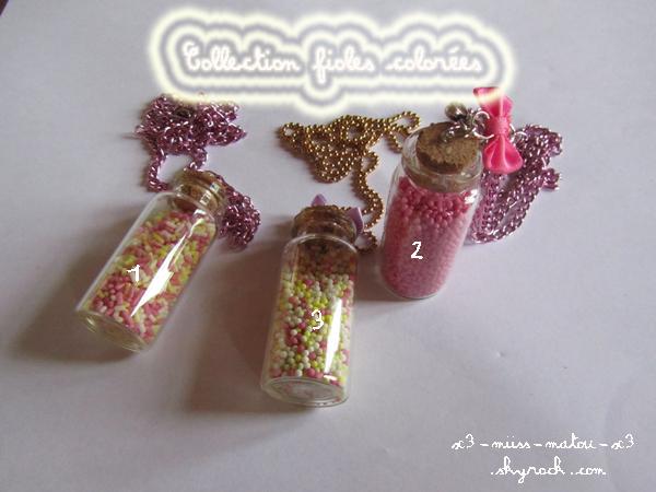 Collection fioles colorées