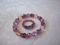 bricol'ette  bracelet avec ses bagues en perles dans des coloris que j'affectionne beaucoup, beaucoup