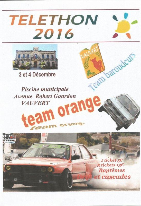 le team orange et le team des baroudeurs organisent le telethon 2016 a VAUVERT