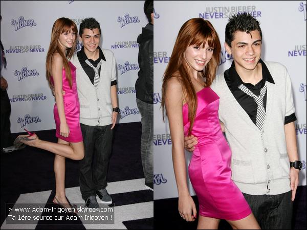 """* 09/02/11- Adam était présent à l'avant première à Los Angeles de """"Never Say Never"""", le film de Justin Bieber !Alors là Adam, Bravo ! La tenu j'adore, un gros TOP, sa fait décontracté et habillé à la fois ! Quand à Bella, elle est sublime. *"""