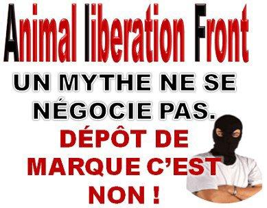 """Non au dépôt de la marque """"Animal Liberation Front""""."""