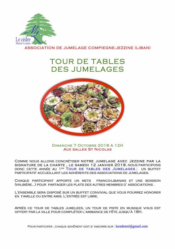 TOUR DE TABLES DES JUMELAGES A COMPIEGNE