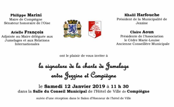 Signature de la charte de jumelage Compiègne-Jezzine