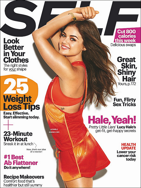 Lucy Hale fait la couverture du magazine « Self » du mois d'octobre 2013 ! Vos avis ? Lucy s'est exprimée à ce sujet sur Twitter : « Hey merci @selfmagazine de m'avoir mise en couverture du numéro d'octobre. »