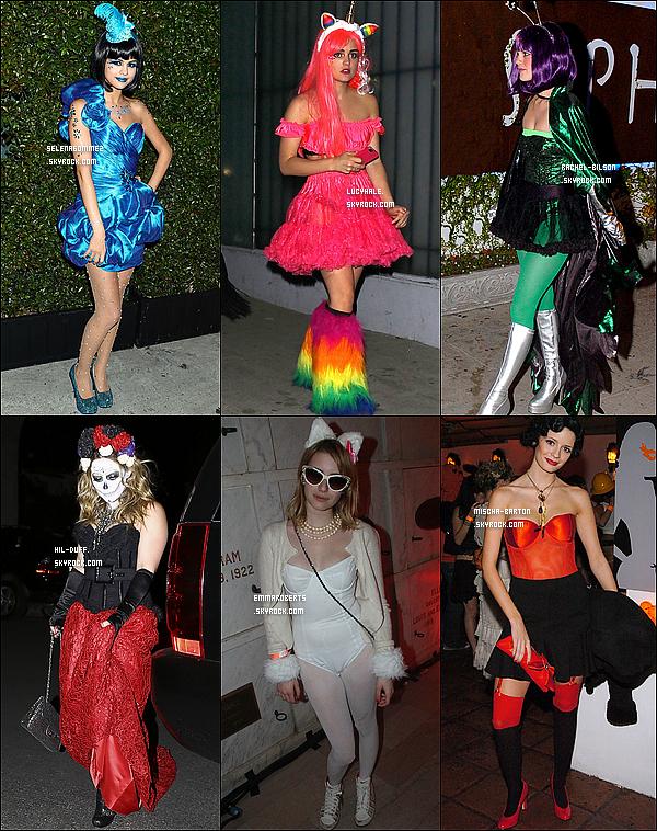 ARTICLE SPECIAL HALLOWEEN    Laquelle de nos actrices porte le meilleur costume ?  Comme chaque année, Halloween est une fête dignement célébrée aux Etats-Unis. Les américains ne dérogent pas à la règle des costumes en tous genre, plus originaux (ou pas) les uns que les autres. Cela n'a donc pas échappé aux belles Selena Gomez, Lucy Hale, Rachel Bilson, Hilary Duff, Emma Roberts et Mischa Barton. Mais parmi les différents déguisements, lequel vous plaît le plus ?  (collab' avec SelenaGommez, Rachel-Bilson, Hil-Duff, EmmaRoberts et Mischa-Barton).