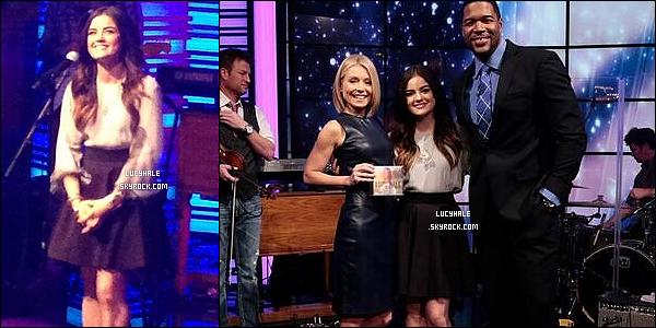 14/01/2014 : Jolie Lucy performait son titre YSGTM à l'emission Live with Kelly and Michael à Los Angeles. Notre jolie petite Hale continue sa promotion tranquillement pendant la diffusion de PLL sur les écrans américains..