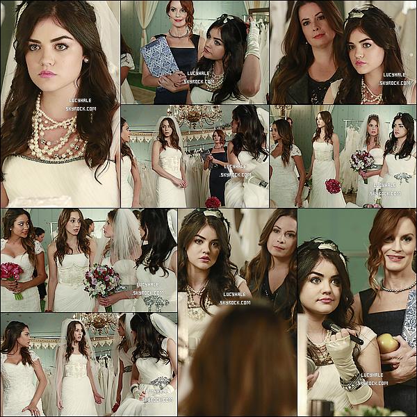 Découvrez les nouvelles photos promotionnelles pour l'épisode 04 x 23 intitulé « Unbridled ». On peut voir nos quatre jolies petites menteuses en tenue de mariées entourées de la mère d'Hanna et d'Aria. Vos avis ?
