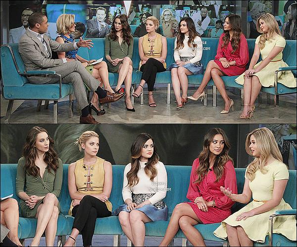 18/03/2014 : Plus tard, les actrices se sont rendues sur le plateau de The View pour la promo du final de PLL. Nos cinq jolies menteuses n'en finissent plus avec la promotion ce jour là. Que pensez-vous de leurs différentes tenues ?