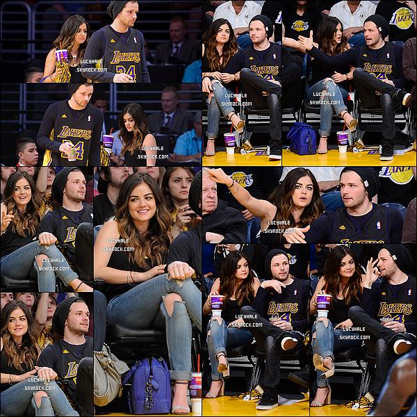 13/04/2014: Lu' en compagnie de son ami  (ou plus)  Joel Crouse était au match des Lakers à Los Angeles. Surprise ! L. est en effet plutôt proche de ce jeune homme. Nouveau boyfriend ? Main sur la cuisse et tout.. Bien possible !