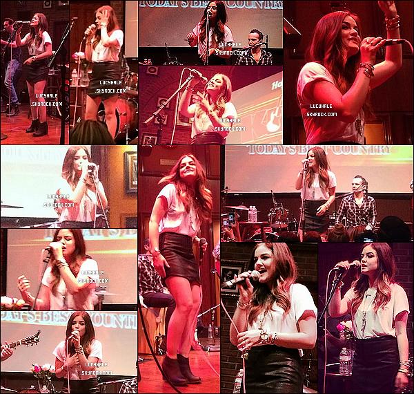 19/04/2014: Notre miss Hale performait en showcase au Kix 106 Hard Rock Cafe à Memphis. (Tennessee) Maintenant que le saison 4 de PLL est terminée et la promo avec, la miss parcours le pays pour interpréter ses titres country.