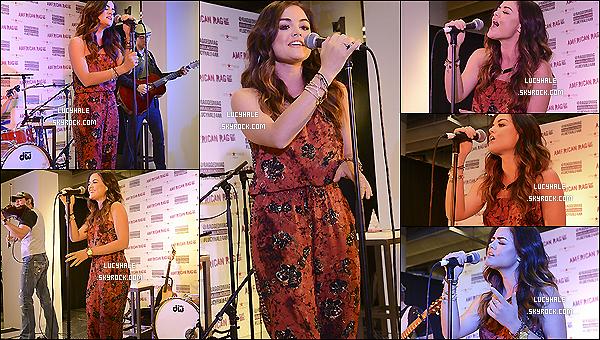 """14/06/2014 : Le jour de son b-day, Lucy était présente  à l'event American Rag's """"ALL ACCESS"""" Campaign. La belle a performé différents titres de son nouvel album. Côté tenue, je ne suis pas fan de sa combi au style africain."""
