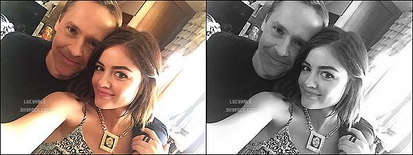 Voici une nouvelle photo de Lucy sur le tournage de PLL avec Chad Lowe (le père d'Aria).