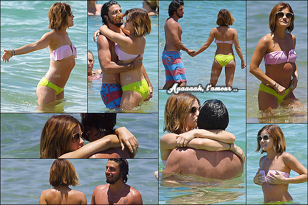 """30/06/2015 : L. est en vacances avec ses amis et.. son new mâle : Anthony Kalabretta à Maui (Hawaii).  C'est un magnifique candid que la miss nous offre : nouveau chéri, nouveau tatouage """"Courage, dear heart"""", plage et farniente !"""