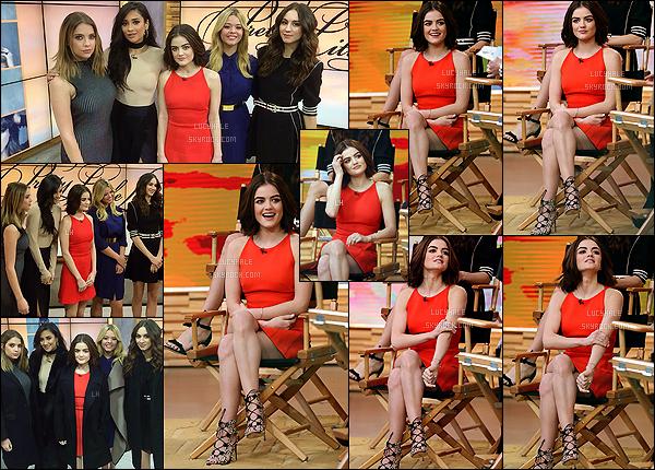12/01/2016 : Lucy a continué sa promo, cette fois sur l'émission de Good Morning America avec les filles.  Ce jour là, Lu' a encore fait une tonne de promo pour PLL et pour elle-même dans la belle ville de New York. Niveau tenue, big top ! Rouge j'aime.