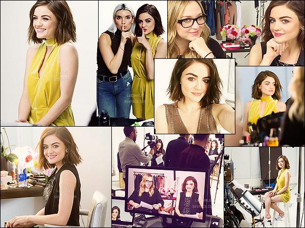 COSMOPOLITAN ▬ Découvrez les coulisses du prochain photoshoot de Lucy pour le célèbre magazine.  Les photos sont très appréciables à regarder. J'aime bien voir Lucy porter du jaune, c'est une couleur qui la fait rayonner. J'ai hâte de voir le rendu.