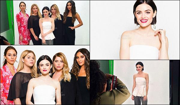 18/04/2017 : Lucy et ses co-stars de PLL ont réalisé un photoshoot après une interview pour Yahoo TV.  On ne les arrête plus. Je n'aime pas du tout son pantalon.. Un bof ! Elle garde toujours le sourire pendant toute la durée de la promotion. J'adore !