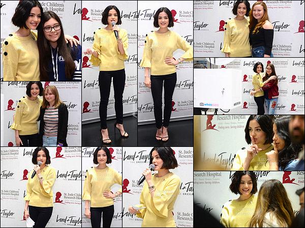 22/04/2017 : L. était au Lord & Taylor celebrates Charity Days : Let's Do Something Good Together à LA. L'actrice est de retour dans sa ville car elle a terminé la promo. Néanmoins, elle n'en arrête pas les sorties. Sa tenue est à la fois simple et élégante.