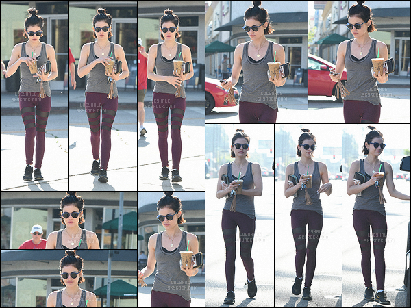 04/05/2017 : Lucy, toujours une boisson à la main, sortait de sa séance de gym quotidienne. (L. Angeles) Ce n'est jamais embêtant de faire une sortie sport de Lucy, elle met toujours des tenues qui changent du noir. Je la trouve toujours aussi belle. Top !